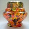 Czech Art Deco Spatter Glass Rose Bowl