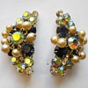 Aurora Borealis Faux Pearl Chandelier Clip Earrings