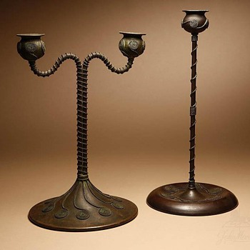 Riviere Studios Bronze Candlestick & Candelabrum - Arts and Crafts