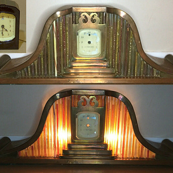 Unknown Maker 1930's Ornate Copper and Brass Lighted Mantle clock - Clocks