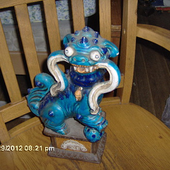Antique Foo Dog,Turquoise In Color - Asian