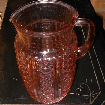 Pink Depression Glass Pitcher - Glassware