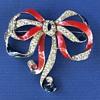 Joseph Wuyts' Patriotic Rhinestone Bow Brooch for Trifari - 1940