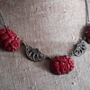 Antique 1920s Czech molded glass necklace.