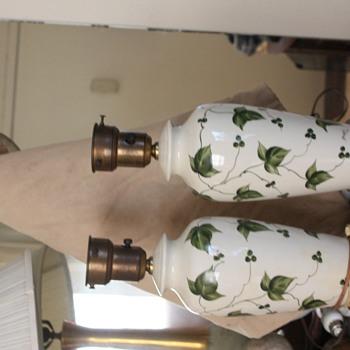 Vintage Signed ceramic  Ivy Leaf Brass Bottom Lamps - Lamps