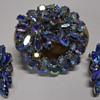 Sherman Brooch & Earring set, Blue Aurora Borealis, Circa 60s-70s