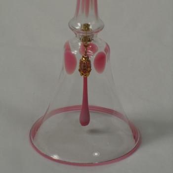 Hand Blown Bell ~ Clear & Pink ~ Glass Striker - Art Glass