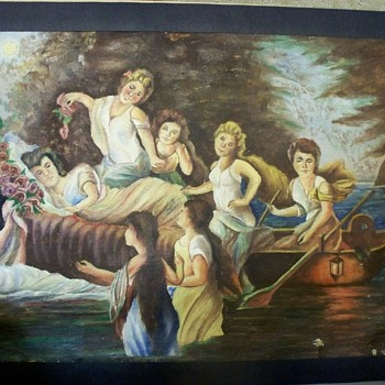Oil Painting of Women.  Romantic - Lady of Shallot or Funeral / Burial? - Fine Art