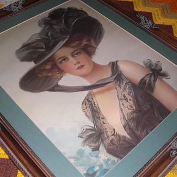 art nouveau unknown large framed picture - Art Nouveau