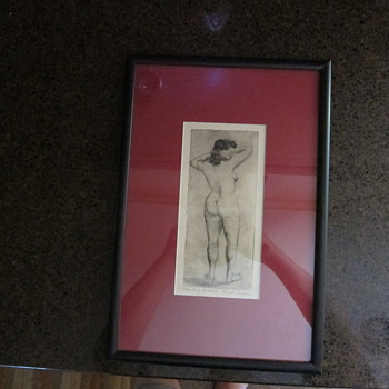 Clyde Singer  -  Signed  -  Standing Nude #8  -  Framed and Matted