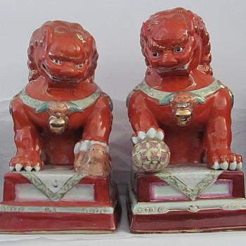 Orange Foo Dogs Pair - Asian