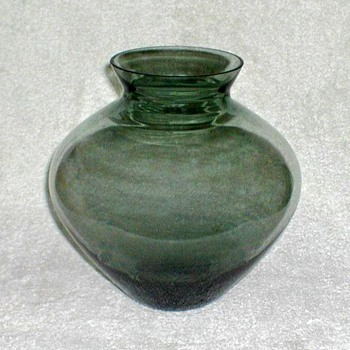 Smoky Green Glass Vase - Glassware
