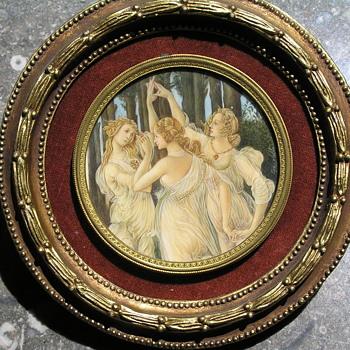 Botticell's Primavera Miniature on Ivory - Fine Art