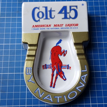 Colt 45 Malt Liquor Melamine ashtray. - Breweriana