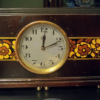 Electro-Magnetic 1927/28 ATO clock with Hand Painted Flowers on it's Case, by Leon Hatot - Clocks
