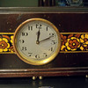 Electro-Magnetic 1927/28 ATO clock with Hand Painted Flowers on it's Case, by Leon Hatot