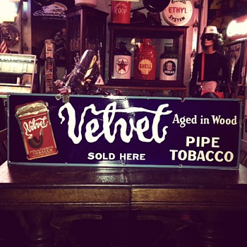 Original  Velvet Pipe and Cigarette Tobacco Porcelain Sign - Tobacciana