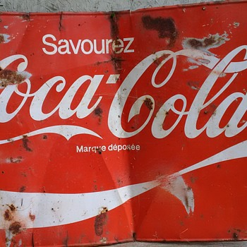 Coca Cola Sign French (approx 5ft L & 3 ft H) Tin