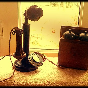 1924 British candlestick telephone & bell box - Telephones