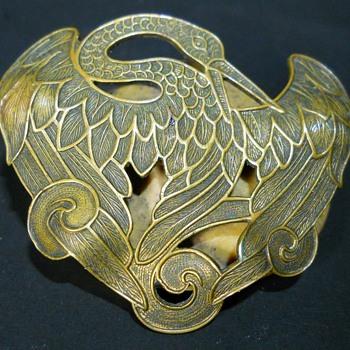 Art Nouveau Stork Crane/Heron Bird, Sash Brooch - Art Nouveau