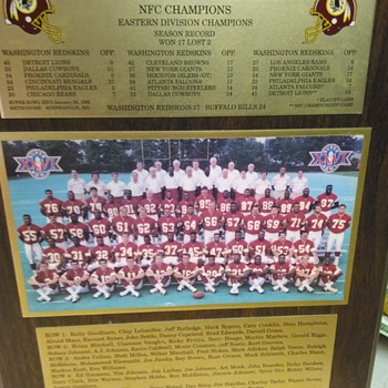 WASHINGTON REDSKINS SUPER BOWL CHAMPIONSHIP PLAQUE - Football