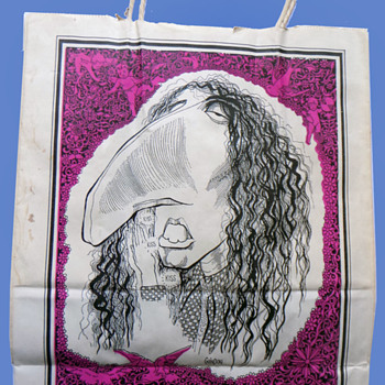 "1968 TINY TIM ""God Bless Us Every One"" Caricature SHOPPING BAG - Advertising"