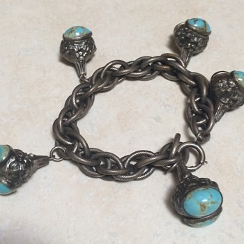 Vintage Silver and Turquoise Nugget Charm Bracelet