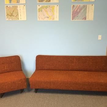 mid century armless tweed sleeper sofa and chair set - Furniture