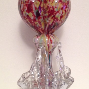 Welz tri-lobed heart rigaree glass bud vase - Art Glass