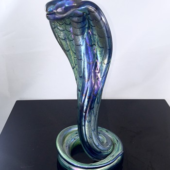Vintage Saul Alcaraz Cobalt Cobra Iridescent Glass Snake 2010 - Art Glass