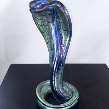 Vintage Saul Alcaraz Cobalt Cobra Iridescent Glass Snake 2010