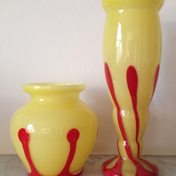 Two lemon yellow vases with applied tadpoles - Art Glass
