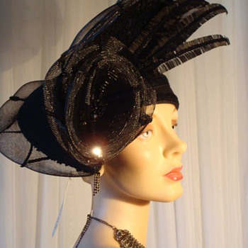 Incredible Deborah of New York Hat - Black Wool with Crin and Sequins