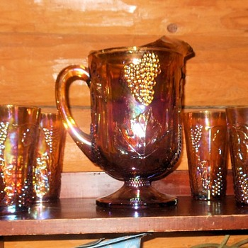Harvest Pattern Carnival Glass Pitcher and Tumblers by Indiana Glass - Glassware