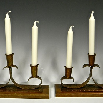 Pair of Copper and Wood Base Arts and Crafts? Candlestick Holders - Arts and Crafts