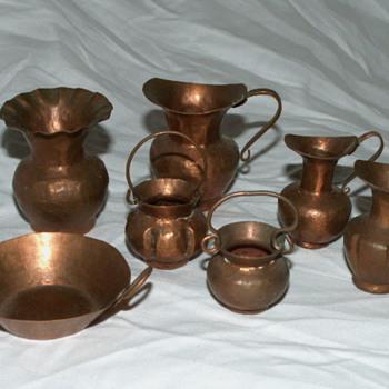 Vintage Minature Copper Pots & Pan Set - Kitchen