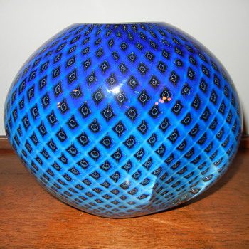 Eickholt Studio, Blue Quilt Glass Vase - Art Glass