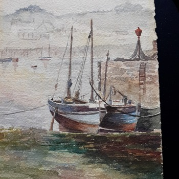 "Watercolor ""Fishing Boats at Newlyn?"" - Fine Art"