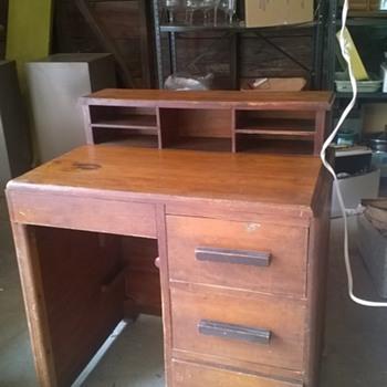 Old child's wooden desk  - Furniture