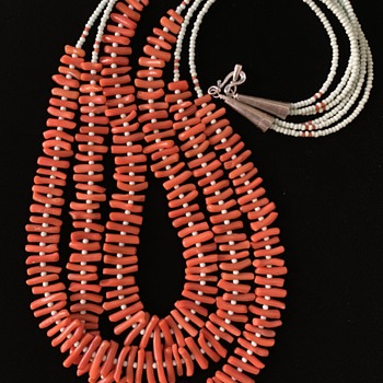 Reclaimed circa-30s Mediterranean dark-salmon Corallium rubrum branches 7-13mm long, spaced by old Czech baby-blue seeds. - Fine Jewelry