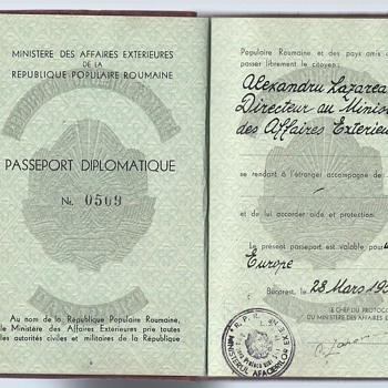 1950 Diplomatic passport