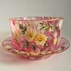 Signed Harrach Rose Pink Splatter Art Glass Tumbler& Finger Bowl Set with Hand Painted Floral Enameling