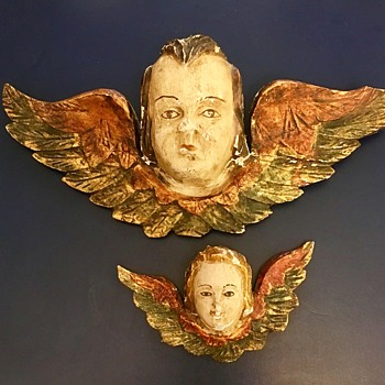 Wood Carved Winged Cherub or PUTTI - Folk Art