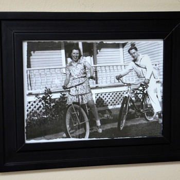 An Old Photo of My Memere and Pepere with their Bicycles - Sporting Goods
