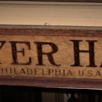 Reverse Painted Guyer Hat Sign Philadelphia PA - Hats