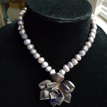 Silver/Pearl Rose Choker - Fine Jewelry