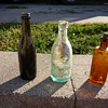 Green, Clear, and Brown-(with cork) bottles