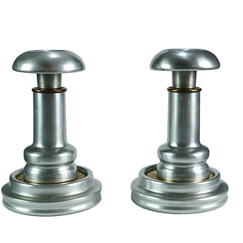 Pair of Aluminum Industrial Candle Holders - Art Deco
