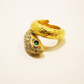 Vintage Kenneth Jay Lane Snake Ring - Costume Jewelry