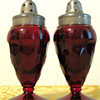 Indiana Depression Glass, Ruby Salt & Pepper Shakers